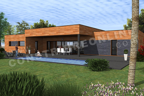 Plan de maison plain pied contemporaine spin 2