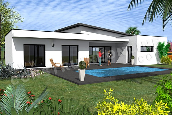 Vente de plan de maison plain pied for Plan maison contemporaine plain pied architecte