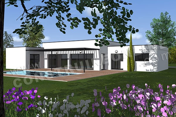 Vente de plan de maison en u for Plan de maison plain pied contemporaine
