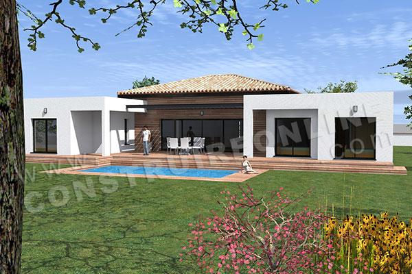 Plan de maison moderne template for Plan de maison moderne de plain pied