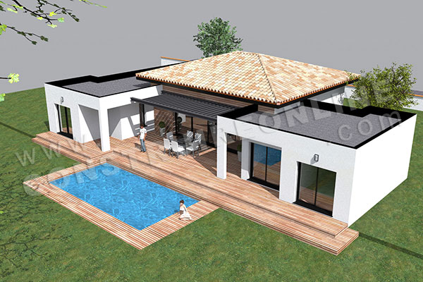 Plan de maison moderne template for Plan de construction villa moderne