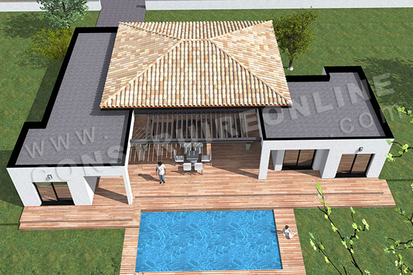 Plan de maison moderne template for Plan maison moderne 200m2