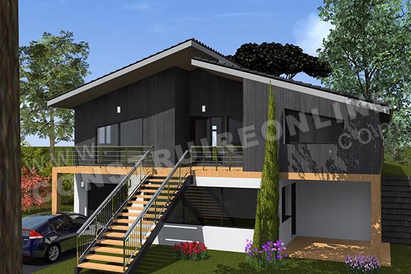 Plan De Maison Moderne Terrain En Pente GOLDA 1