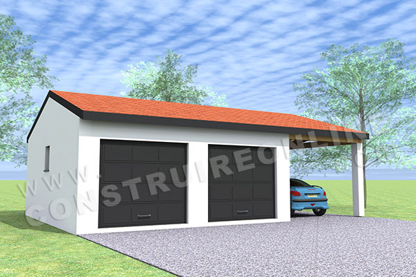 plan garage double 2 portes car port 1