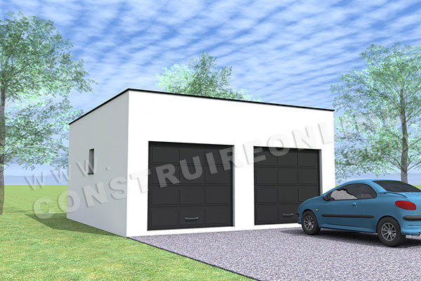 plan garage double 2 portes toit plat 1
