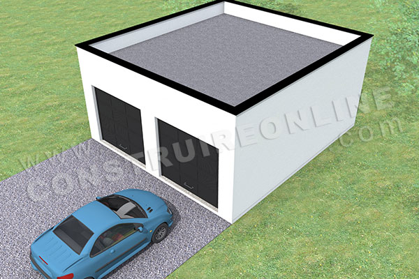plan garage double 2 portes toit plat 2