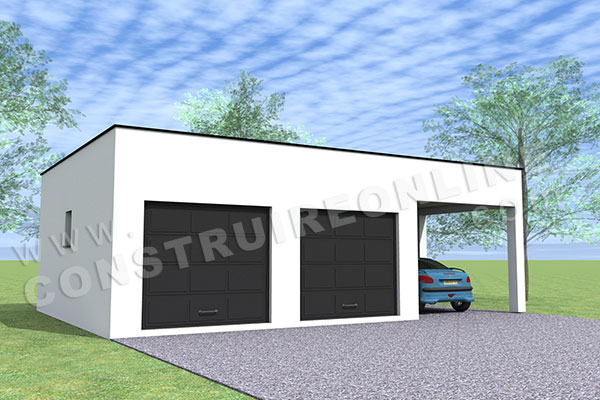 plan garage double 2 portes toit plat carport 1