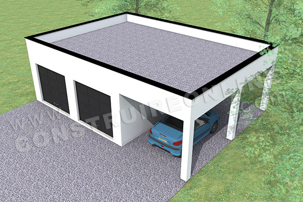 plan garage double 2 portes toit plat carport 2