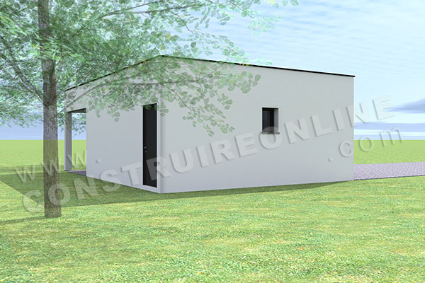 plan garage double 2 portes toit plat carport 3