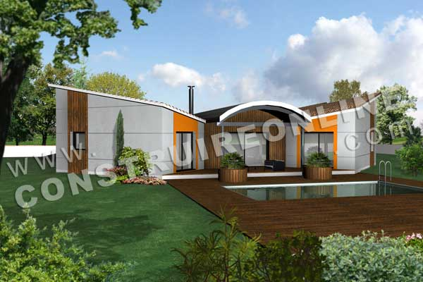 plan de maison contemporaine modele butterfly vue 3d