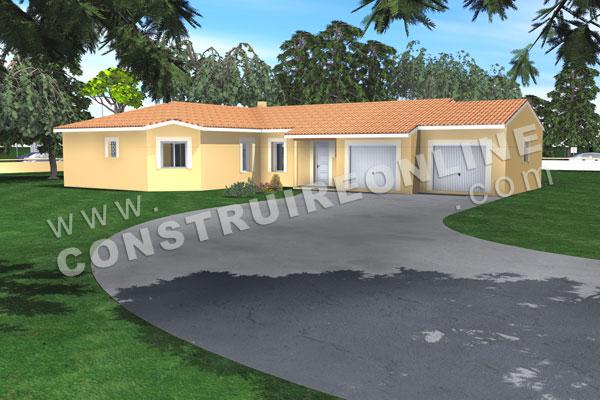 Plan de maison quatre quart for Modele maison en l