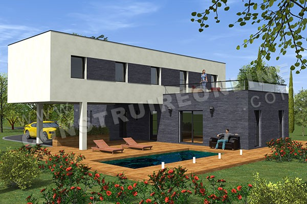 plan de maison contemporaine CROSSOVER vue piscine