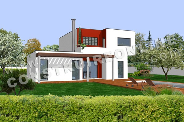 Vente de plan de maison contemporaine for Exemple facade maison contemporaine