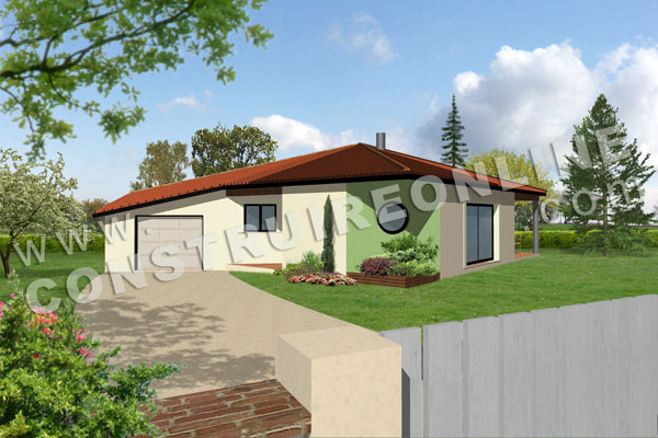 Plan De Maison Plain Pied Modele ANIS Vue 3d