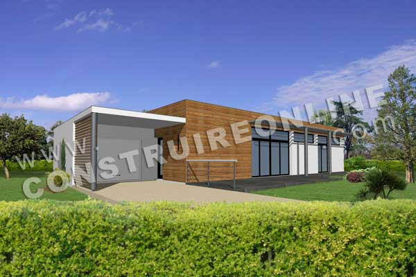 plan de maison contemporaine modele newbook vue 3d